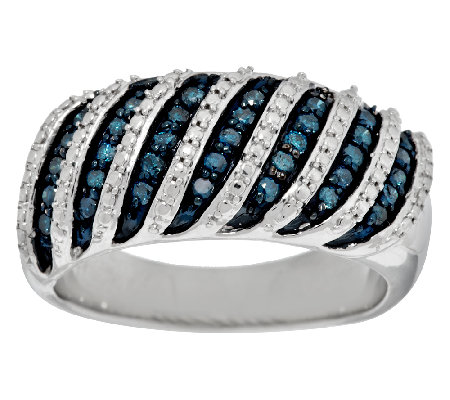 Blue Band Diamond Ring, Sterling 3/10 cttw by Affinity