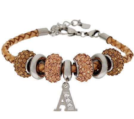 Stainless Steel Camel Leather Bracelet with Initial and Crystal Station