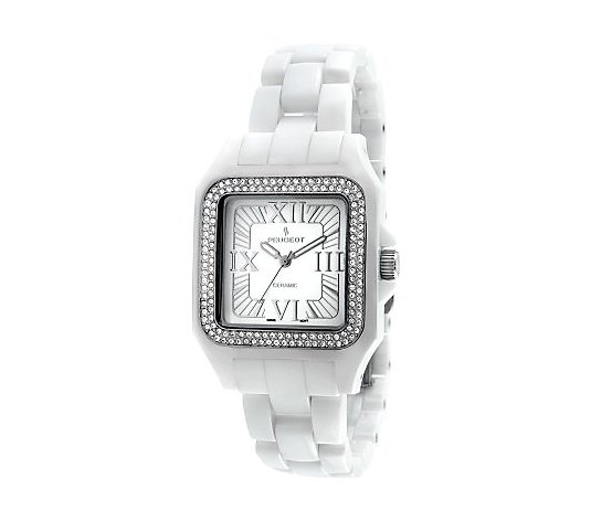 Peugeot Women's Swiss Ceramic Silvert one Bezel Watc