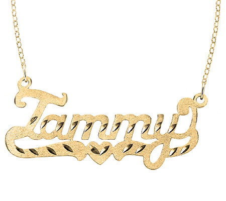 24K Yellow Gold-Plated Sterling Diamond-Cut Name Necklace