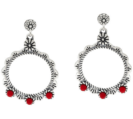 Sterling Silver Red Coral Drop Earrings by American West