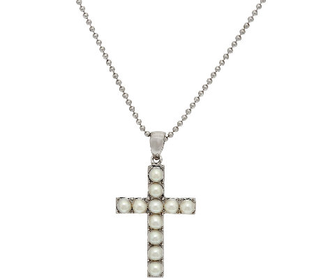 Honora White Cultured Pearl Large Sterling Cross Pendant with Chain