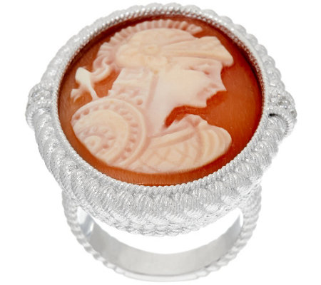 Judith Ripka Sterling Silver Verona Imperial Roman Guard Cameo Ring