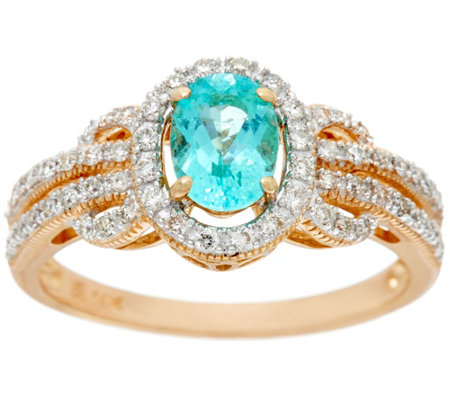 Oval Paraiba Tourmaline & Diamond Ring 14K Gold 0.70 ct