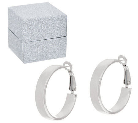 """As Is"" Sterling Silver 1"" Omega Back Hoop Earrings by Silver Style"