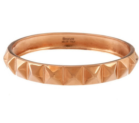 """As Is"" Bronze Average Pyramid Design Polished Round Bangle by Bronzo Italia"