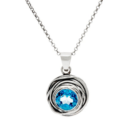 Or Paz Sterling Silver Gemstone Solitaire Pendant w/Chain