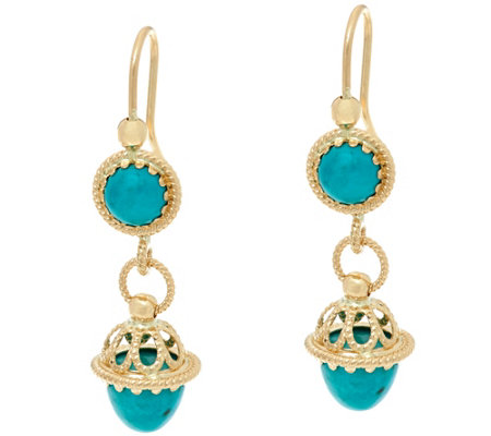 Italian Gold Turquoise Drop Earrings 14K Gold
