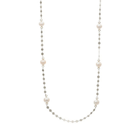 "Honora Cultured Pearl 36"" Polished Disc Necklace Sterling 6.0g"