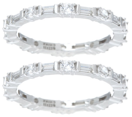 """As Is"" Diamonique Set of 2 Round and Baguette Bands, Sterling"