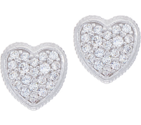 Diamonique Pave' Heart Stud Earrings Sterling