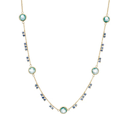 Italian Gold 12.70 cttw Multi-Gemstone Necklace, Gold
