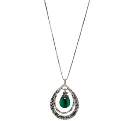 Or Paz Sterling Pear Shaped Gemstone Pendant w/Chain