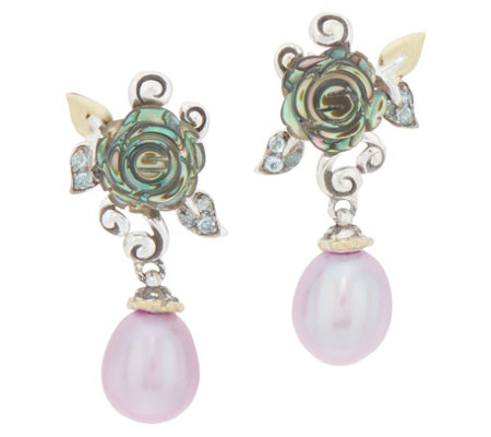 Barbara Bixby Sterling Silver & 18K Gold Abalone Pearl Earrings