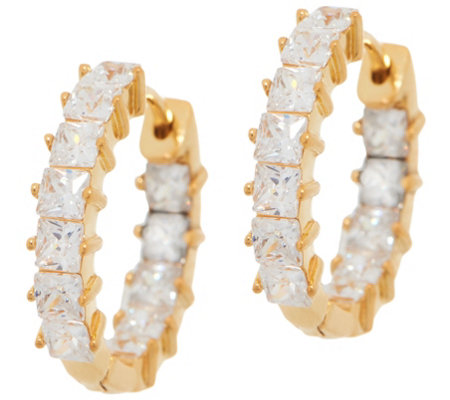 Diamonique Inside-Out Princess Cut Hoop Earrings, Sterling