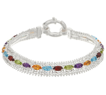 "Imperial Silver 8"" Marquise Shaped Multi-Gemstone Wheat Bracelet"