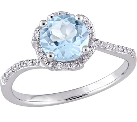 14K 1.55 ct Blue Topaz & 1/10 cttw Diamond Floral Halo Ring