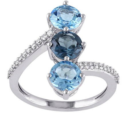 2.95 cttw Blue Topaz & 1/10 cttw Diamond Ring,14K White Gold