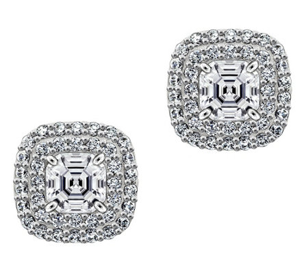 Diamonique 2.00 cttw Asscher Halo Earrings, Platinum Clad