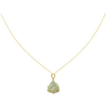 "14K Green Amethyst & Diamond Pendant w/18"" Chain"