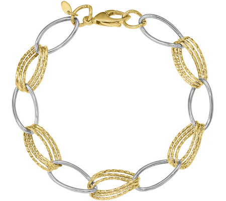 14K Gold Two-Tone Polished & Textured Oval LinkBracelet, 4.4g