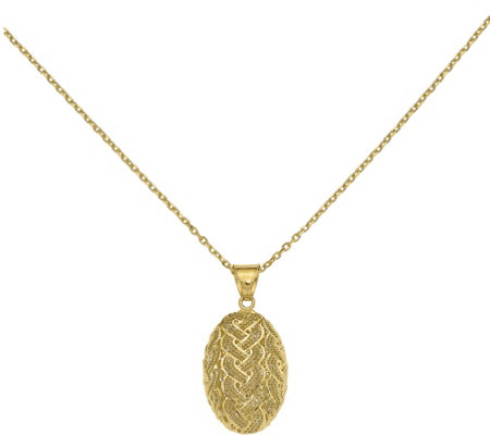 14K Gold Braid Mesh Pendant with Chain