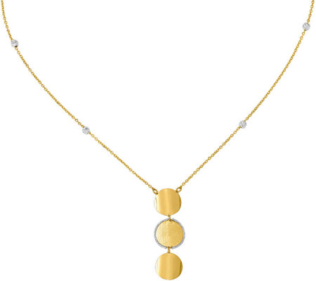 Italian Gold 14k Two Tone Bead Chain Circle Dangle Necklace