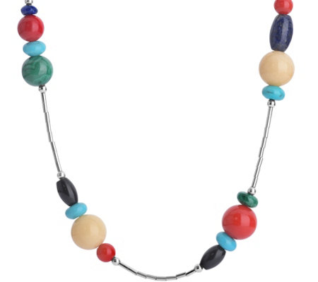 "American West Multi-Beaded 15"" Liquid Silver Necklace"