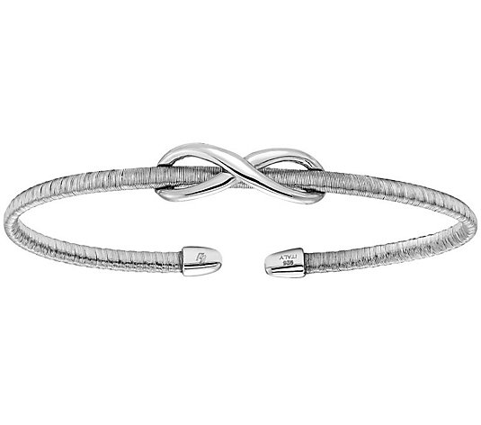 Italian Silver Infinity Textured Cuff Sterling,6.6g