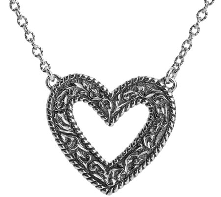 American West Sterling Diamond-Cut Scroll HeartNecklace