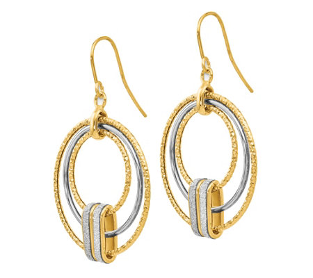 Italian Gold Two-Tone Glimmer Circle Earrings,14K