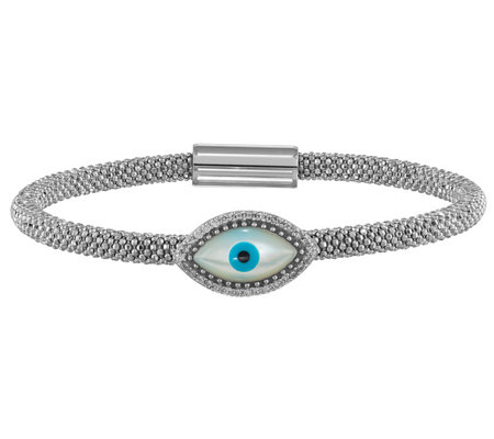 Italian Silver Evil Eye Magnetic Beaded Bracelet