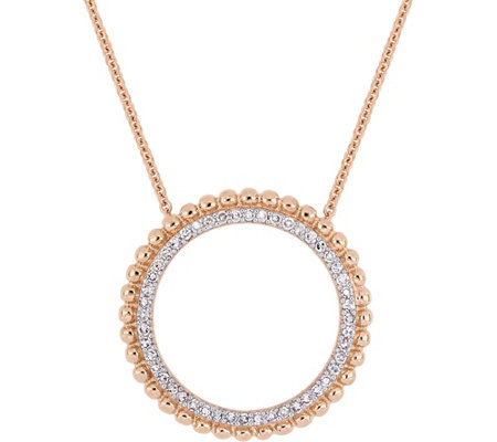 Affinity 14K 1/5 cttw Diamonds Open Circle Pendant w/ Chain