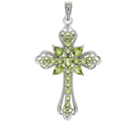 3.75 ct tw Peridot Sterling Cross Enhancer