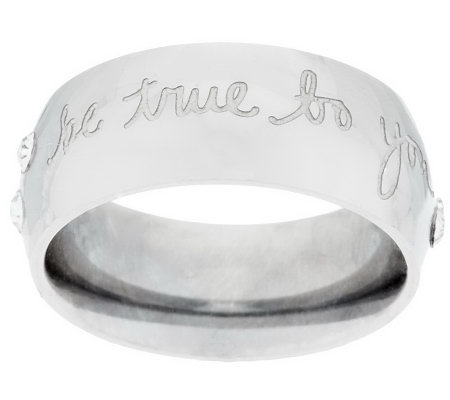 Stainless Steel Message Ring with Crystal Detail