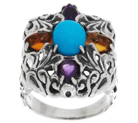 Carolyn Pollack Sterling and 1.50ct Gemstone Honeysuckle Statement Ring