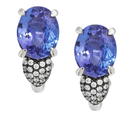 Judith Ripka Sterling 5.60ct Tanzanite and Diamonique Accent Earrings