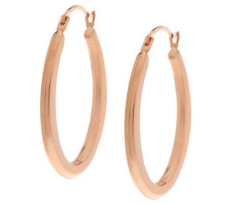 14k Gold Polished Oval Hoop Earrings
