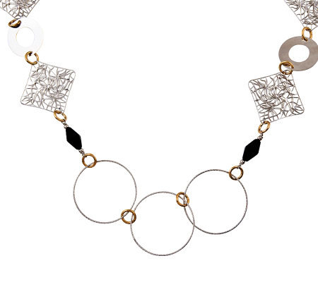 Sterling and 18K Yellow Gold-Plated Onyx Necklace