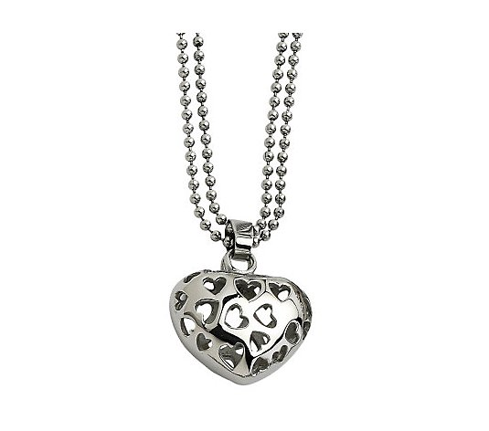 Steel by Design Puffed Heart Pendant with 23