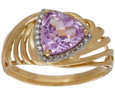 Trillion Cut Kunzite & Diamond Ring 14K Gold 1.70 ct