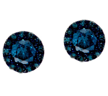 Blue Diamond Stud Earrings Sterling, 1/2 cttw, by Affinity