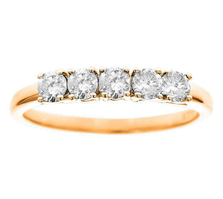 5-Stone Band Diamond Ring, 14K Yellow Gold 1/2ct by Affinity