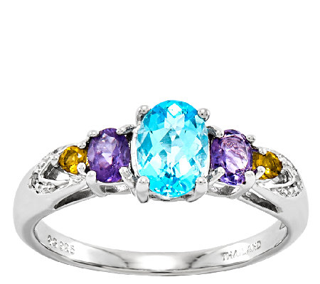Sterling 1.90 cttw Multi-Gemstone Ring