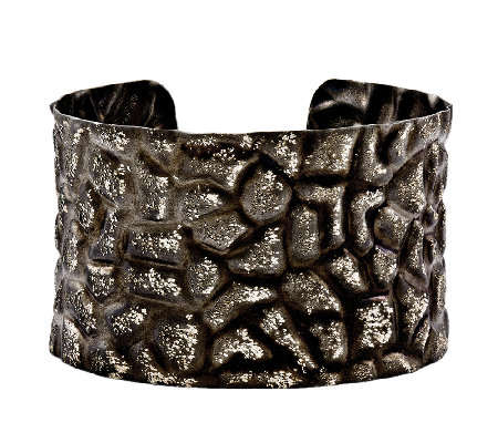 Black White Wide Textured Cuff Sterling