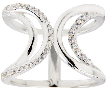 UltraFine Silver Crystal & Polished Open Band Ring