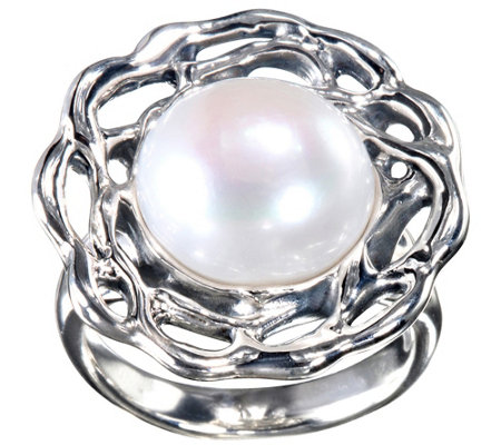 Hagit Sterling 12mm Round Cultured Pearl R ing