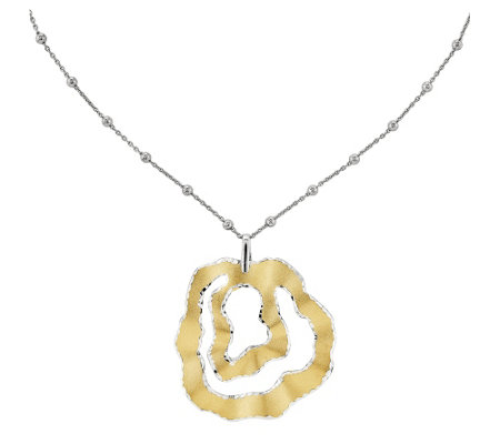 "Sterling & 14K Gold-Plated Wavy Pendant with 17"" Chain"