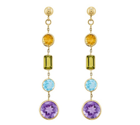 4.20 cttw Muti-Gemstone Dangle Earrings, 14K