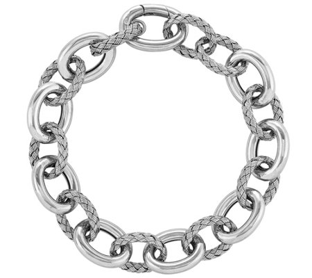 "Sterling Woven & Polished Link 8"" Bracelet"